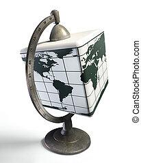 cube desktop metal globe