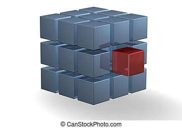 cube - a blue cube with a middle red cube as part of the...