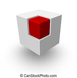 cube - red cube in another white cube - 3d illustration