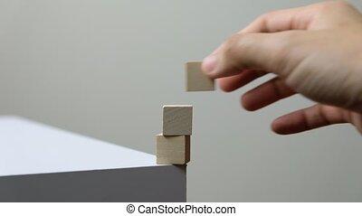 cube, empilement, haut, il, bois, automne, equilibre perdant...