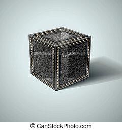 cube, eps10, jean, arrière-plan., vecteur, blanc