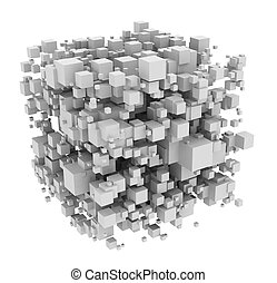 Cube from cubes - Image of cubes. White background.