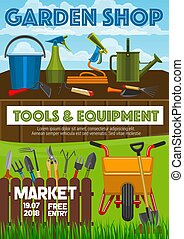 Cube - Garden shop poster, farming and gardening tools...