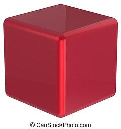 Cube geometric shape dice block basic box square brick red