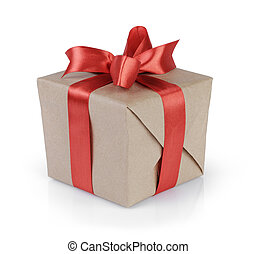 cube gift box wrapped with kraft paper and red bow, isolated