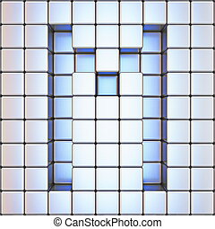 Cube grid Letter M 3D