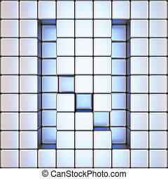 Cube grid Letter N 3D