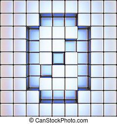 Cube grid Number 0 ZERO 3D