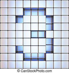 Cube grid Number 3 THREE 3D