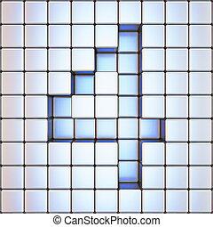 Cube grid Number 4 FOUR 3D