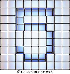 Cube grid Number 5 FIVE 3D
