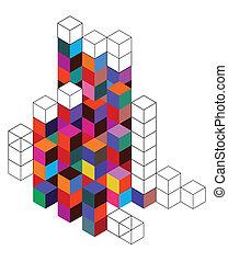 cube, grille couleur, fond