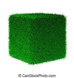 cube, herbe, render, 3d