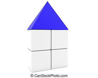Cube house with blue roof