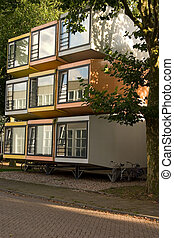 cube housing - Very small containers stacked on top of each...