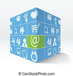 cube, icônes, média, illustration, côtés, sien, 3d