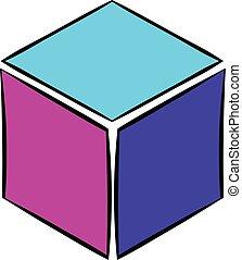 Cube icon cartoon