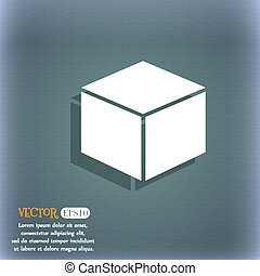 cube icon. On the blue-green abstract background with shadow and space for your text. Vector