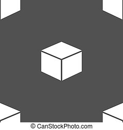 cube icon sign. Seamless pattern on a gray background. Vector