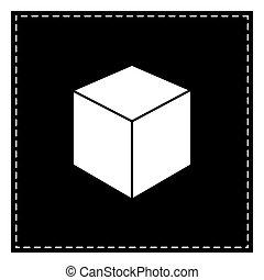 cube, illustration., isoler, pièce, arrière-plan., noir, blanc, signe