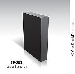 cube, isolé, arrière-plan., noir, blanc, 3d