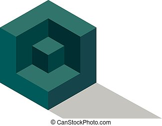 Cube isometric logo brick concept, 3d dice illustration, vector block icon
