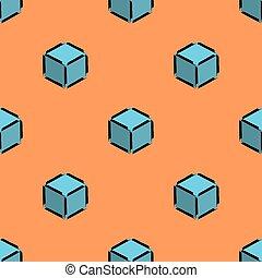 Cube isometric pattern blue orange