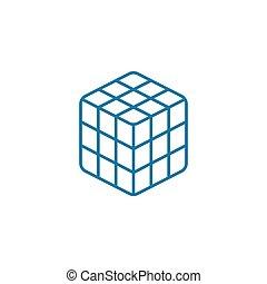 cube, linéaire, signe, concept., rubik's, symbole, vecteur, ...