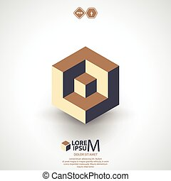 Cube logo, logic icon. Vector