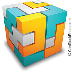 Cube made of different shapes.