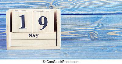 cube, mai, vendange, photo, 19, 19th., date, bois, calendrier