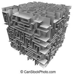 cube maze - 3d cube maze. White background.