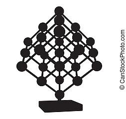Cube Mesh With Metal Balls Knots Vector