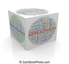 cube, mot, étiquettes, tableur, wordcloud, 3d