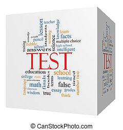 cube, mot, concept, essai, nuage, 3d