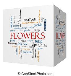 cube, mot, concept, fleurs, nuage, 3d