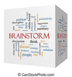 cube, mot, concept, idée génie, nuage, 3d