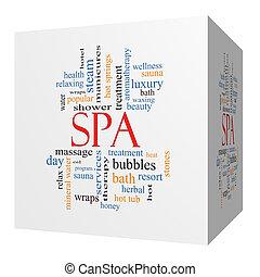 cube, mot, concept, spa, nuage, 3d