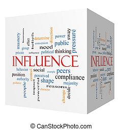cube, mot, influence, concept, nuage, 3d