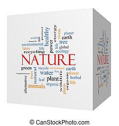 cube, mot, nature, concept, nuage, 3d