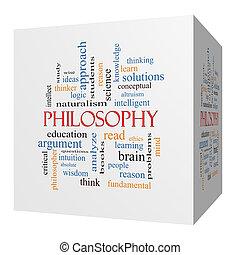 cube, mot, philosophie, concept, nuage, 3d
