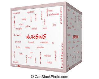 cube, mot, soins, whiteboard, concept, nuage, 3d