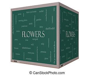 cube, mot, tableau noir, concept, fleurs, nuage, 3d