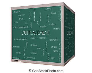 cube, mot, tableau noir, outplacement, concept, nuage, 3d