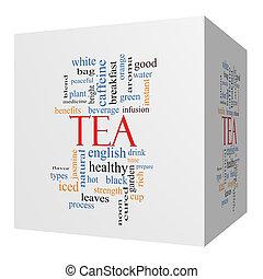 cube, mot, thé, concept, nuage, 3d