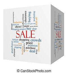 cube, mot, vente, concept, nuage, 3d