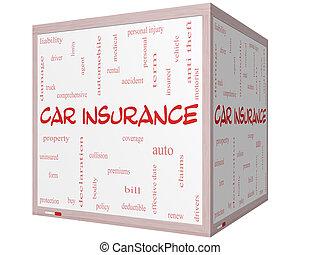cube, mot, voiture, whiteboard, concept, assurance, nuage, 3d