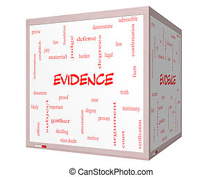 cube, mot, whiteboard, évidence, concept, nuage, 3d