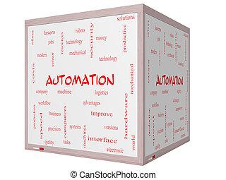 cube, mot, whiteboard, automation, concept, nuage, 3d