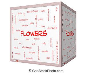 cube, mot, whiteboard, concept, fleurs, nuage, 3d